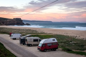 travelling-portugal-by-campervan-vanlife-nazare-camping-on-beach